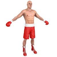 3D boxer man model