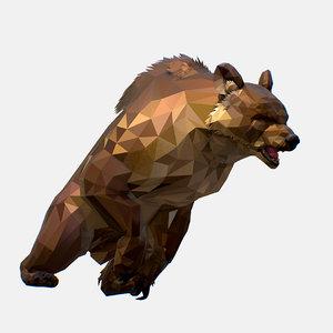 3D art brown bear animation model