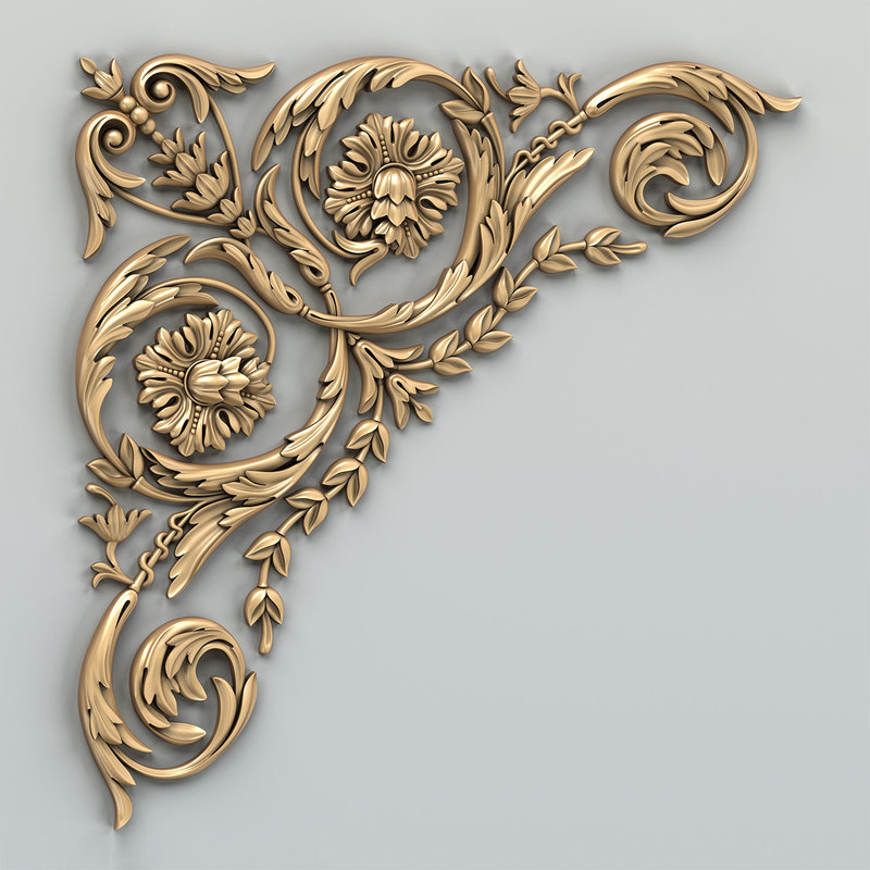 carved corner decor 3D
