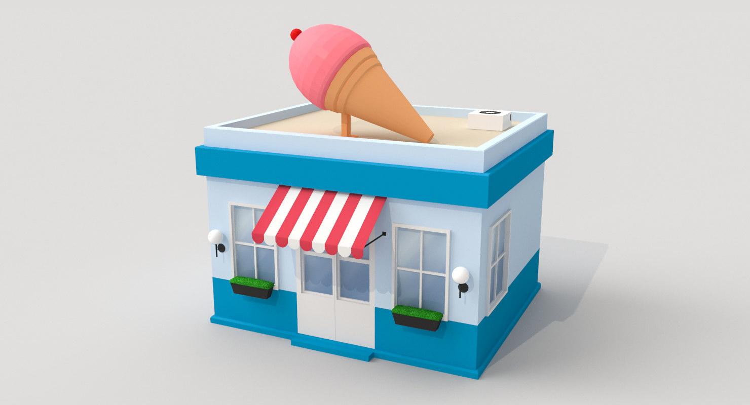 cartoon ice cream shop 3D model