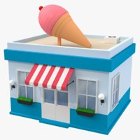 Ice Cream Shop Low Poly Modello 3D