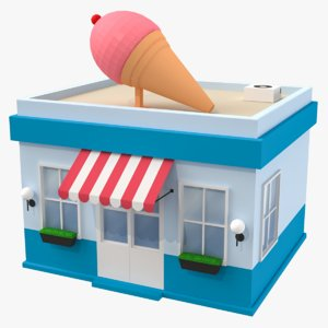 cartoon ice cream shop 3D model