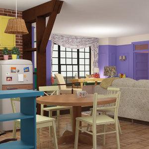 apartment vintage room kitchen 3D model