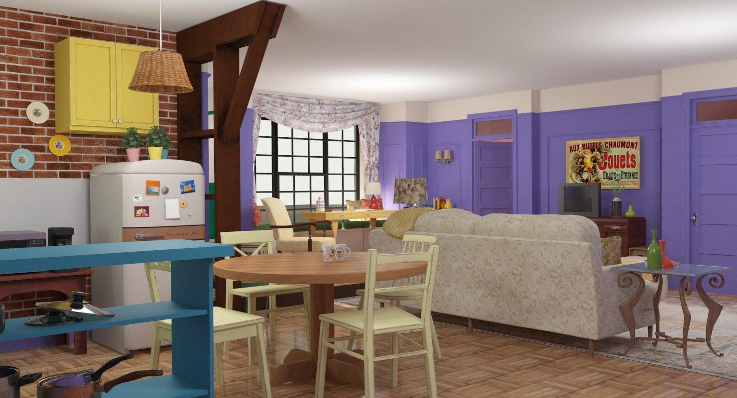 Apartment Vintage Room Kitchen Model
