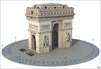 arc triomphe paris 3D