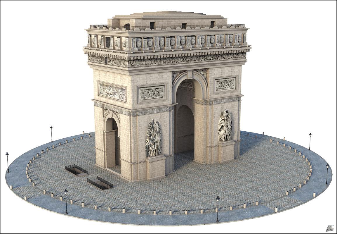 arc triomphe paris 3D