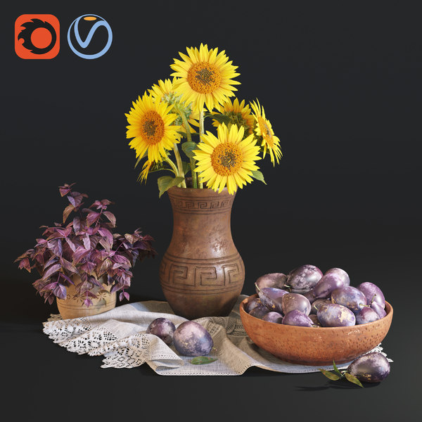 life sunflowers plums model