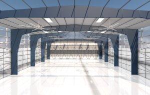 3D airplane hangar
