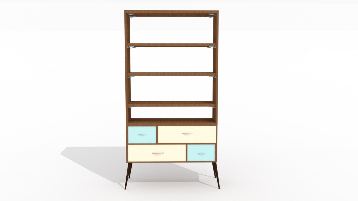 3D 50s bookshelf