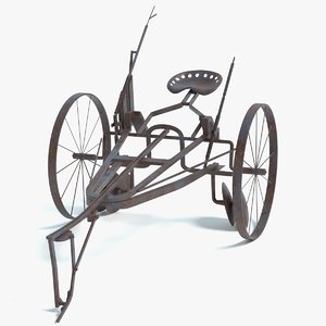 3D old horse drawn plow model
