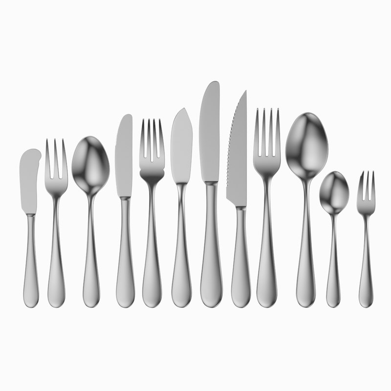 3D common cutlery set 12 model