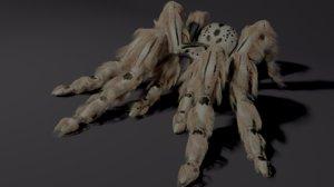 3D evil white spider animating model