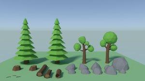 3D trees rocks logs polys