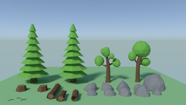 3D trees rocks logs polys