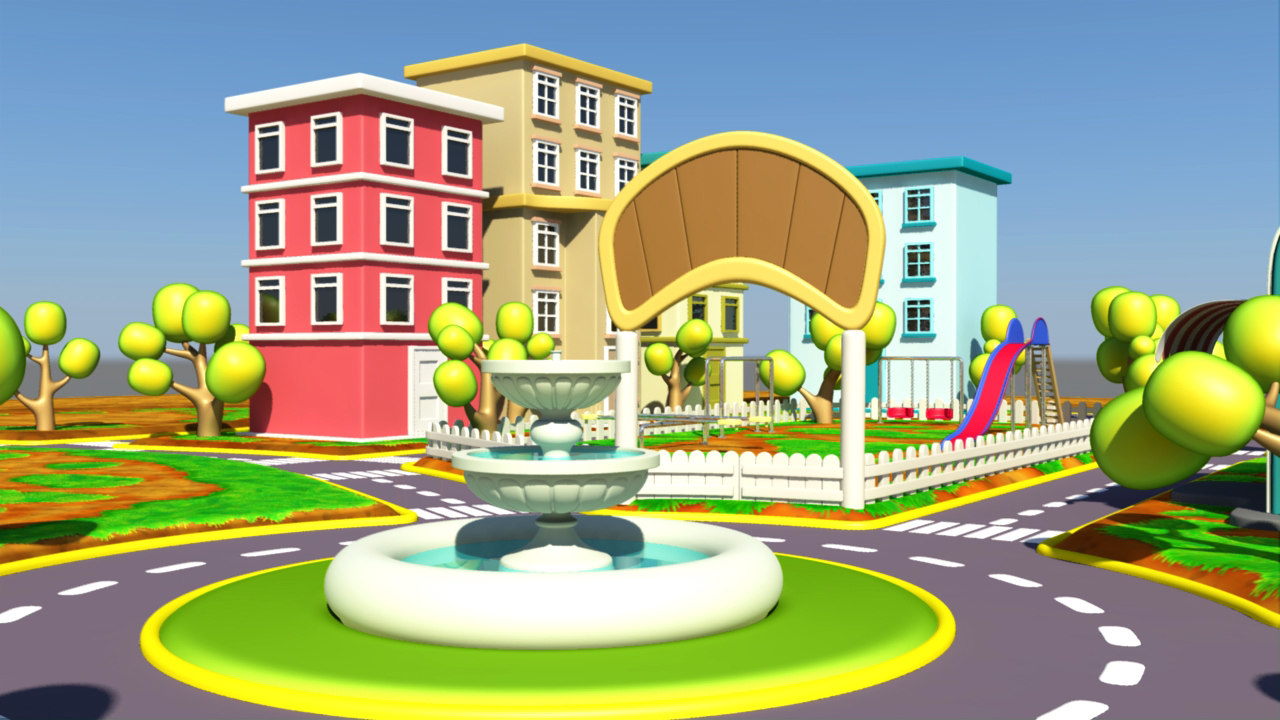 3D model cartoon city exterior