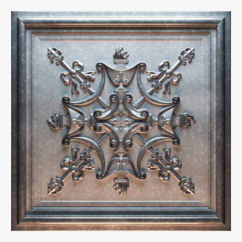 3D model old tin tiles