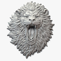 aggressive lion face sculpture 3D