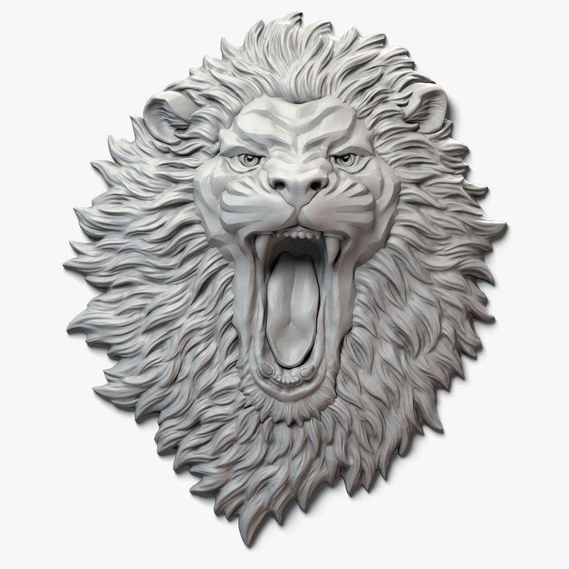 aggressive lion face sculpture 3D