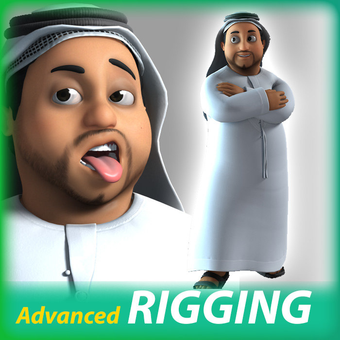 3D Arab Cartoon Character rigged turbosquid