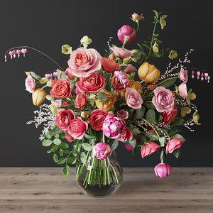 roses bouquet 3D model