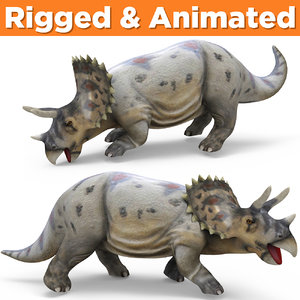 triceratops rigged animation 3D