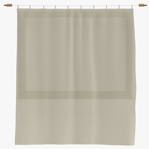 modern curtains closed 3D model