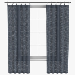 contemporary curtains open 3D model