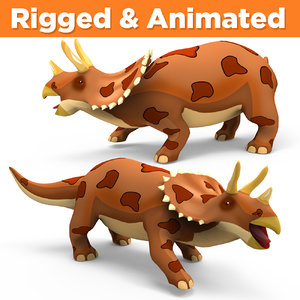 3D triceratops rigged animation model