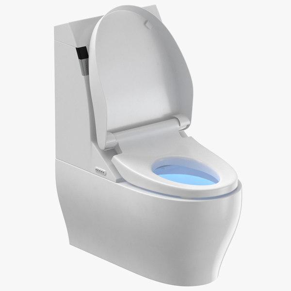 3D model modern toilet open