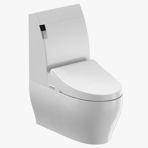 modern toilet closed 3D model