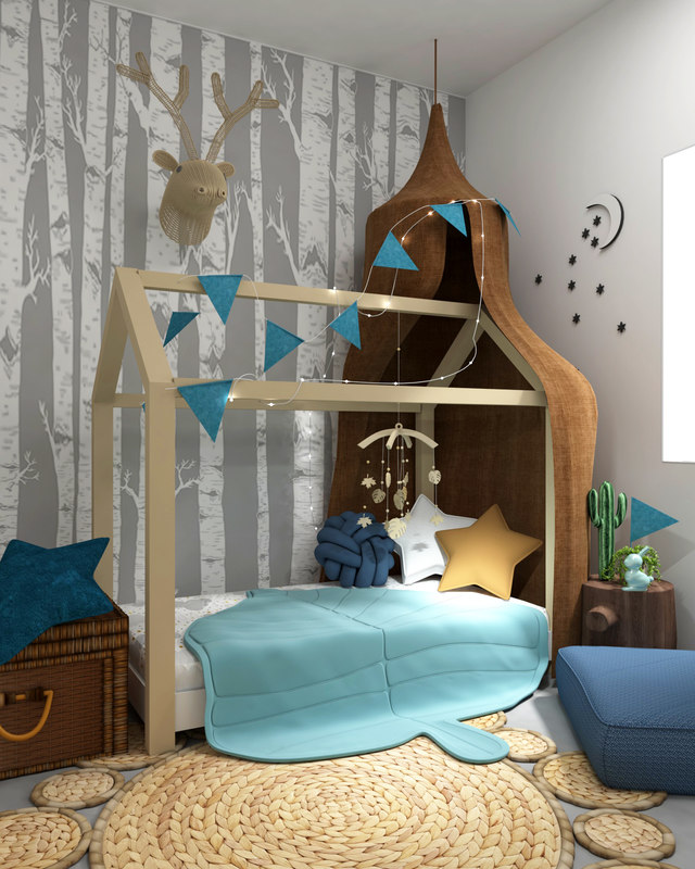 kid room interior toys 3D model