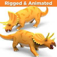 3D triceratops rigged animation
