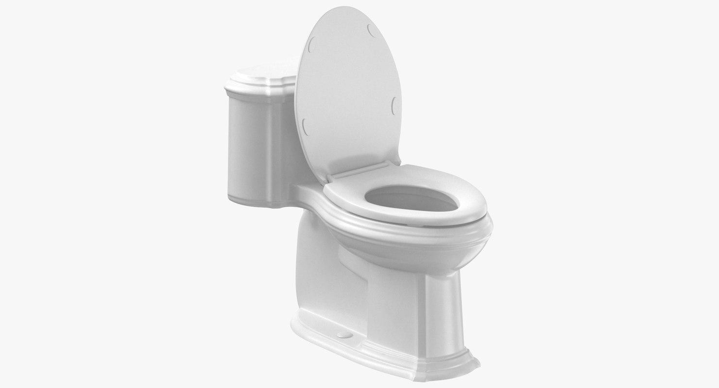3D classical toilet open