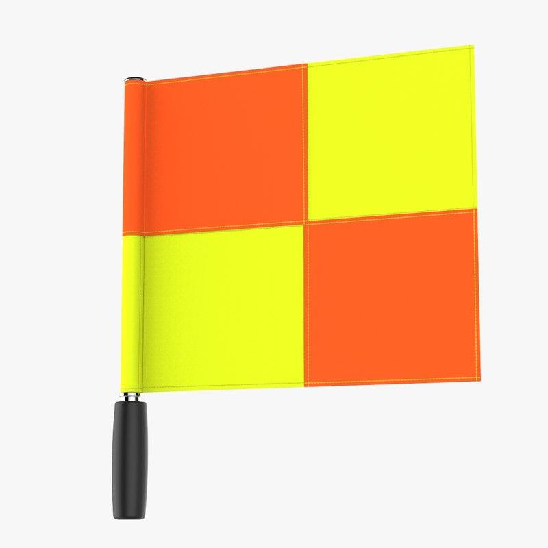 3D model soccer line sman flag