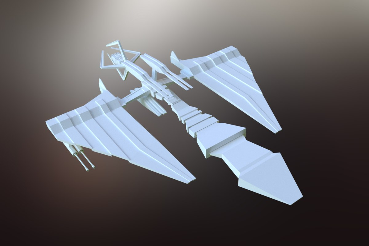 sci-fi spacecraft spaceship 3D model