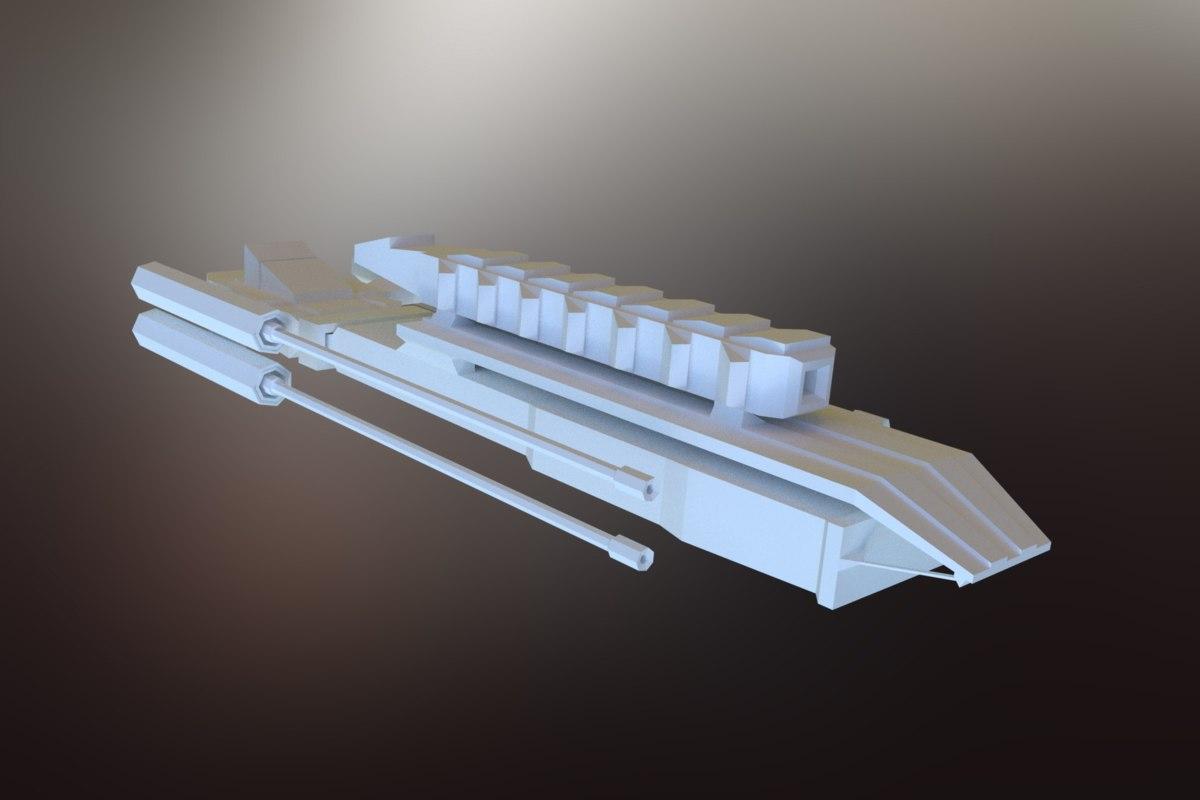 3D sci-fi spacecraft spaceship