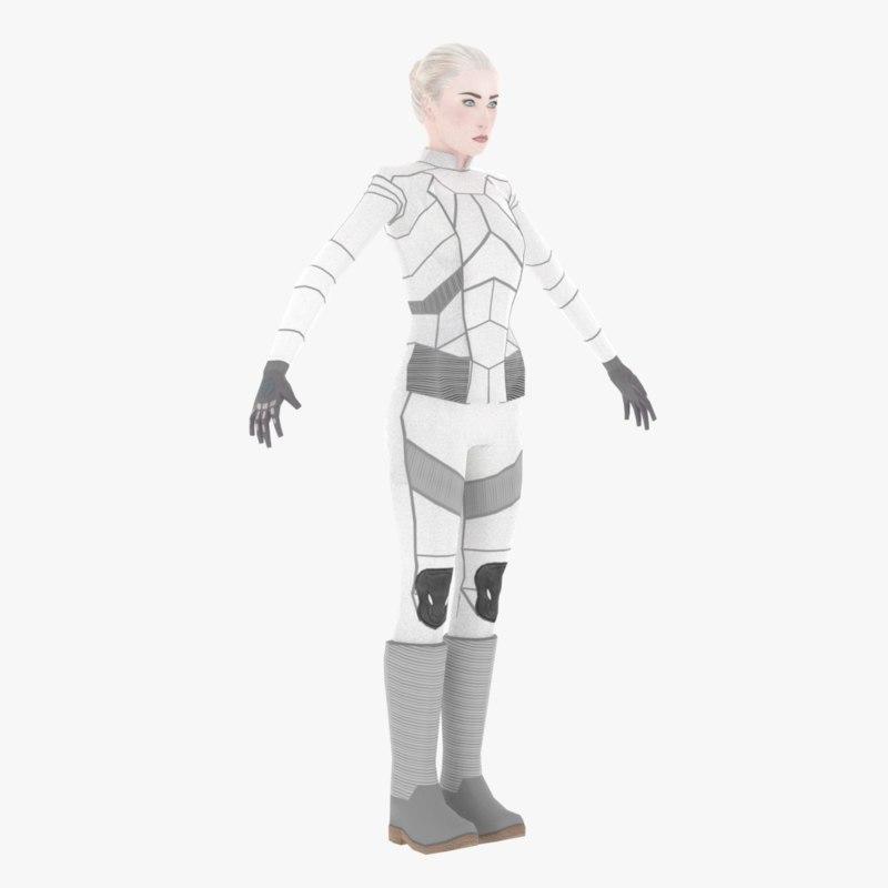 3D sci-fi female character white