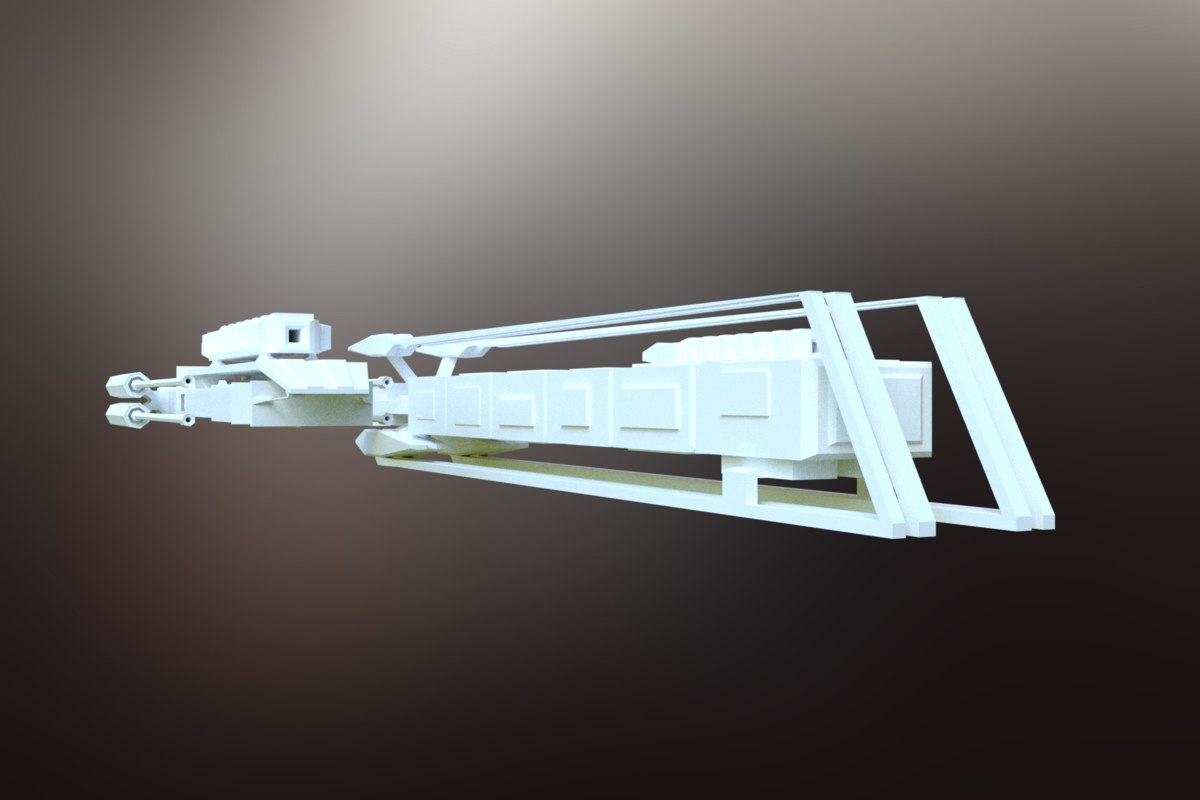 3D model sci-fi spacecraft spaceship