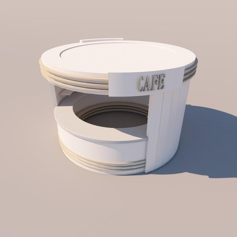 simple cafe kiosk 3D model