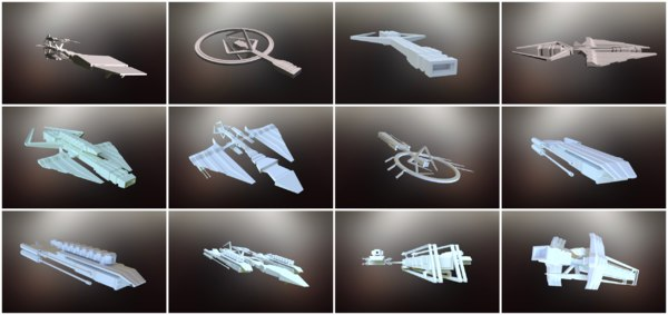sci-fi spaceships spacecrafts model
