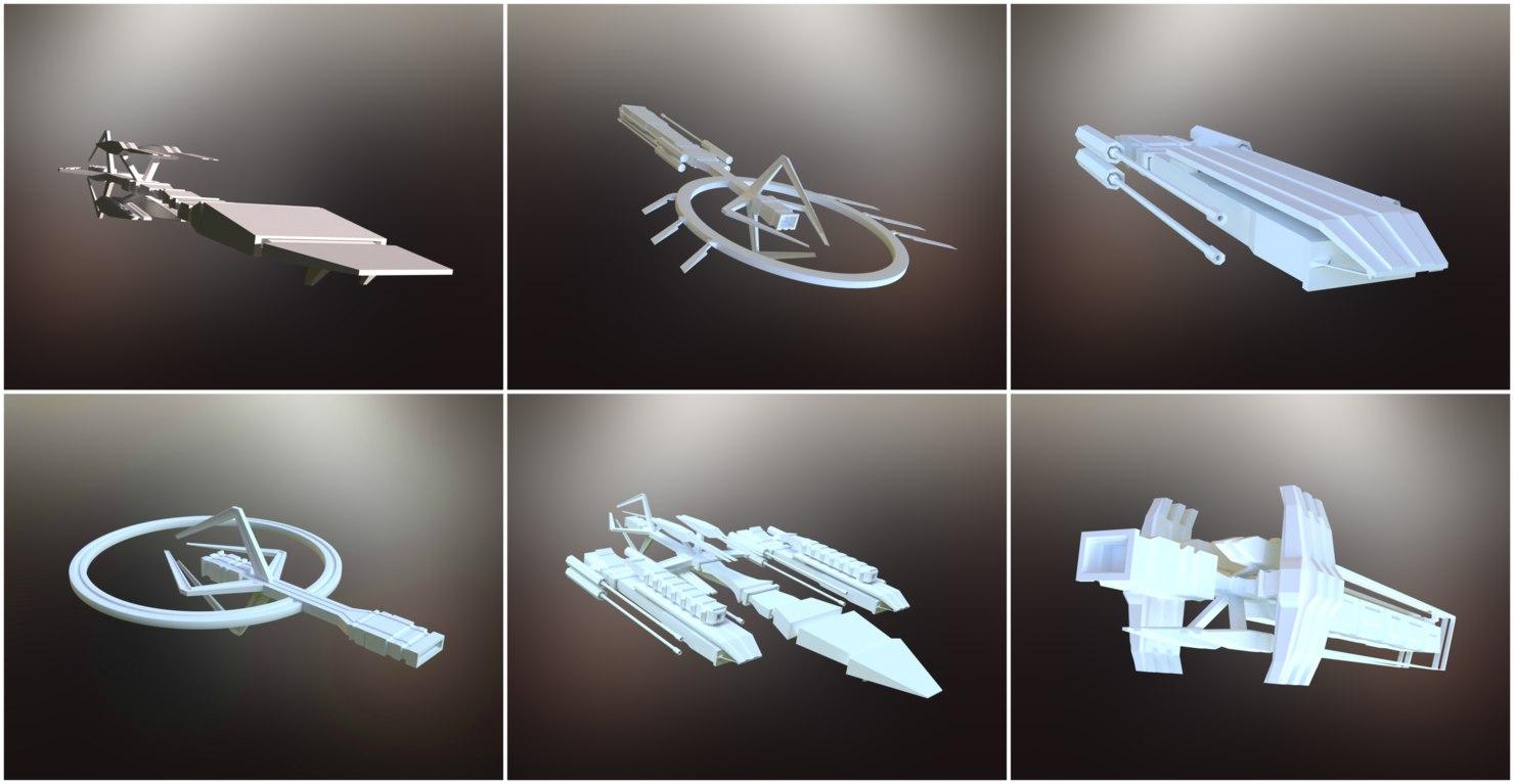 3D sci-fi spaceships spacecrafts