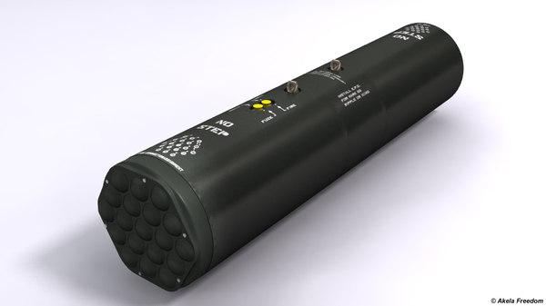 3D model m261 launcher rocket