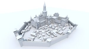 medieval cityscape castle city model