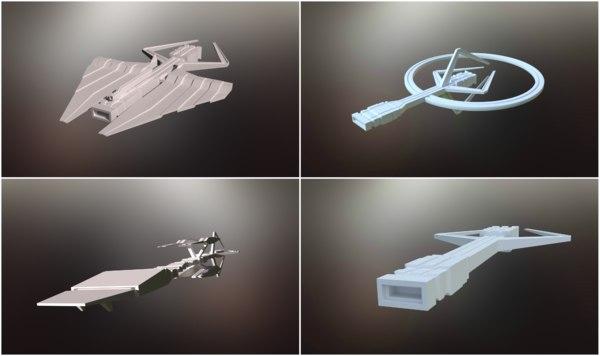 sci-fi spaceships 3D