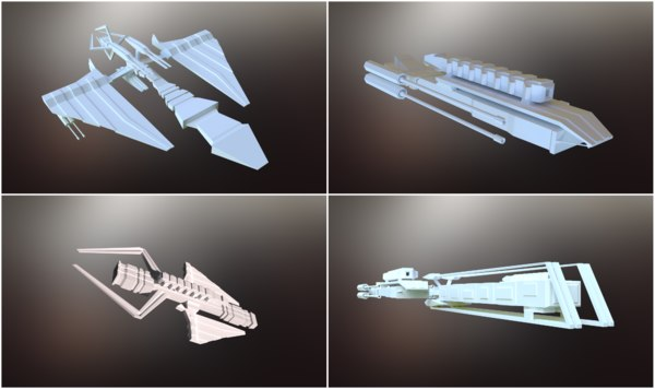 3D sci-fi spaceships model