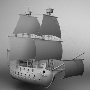 3D galleon ship