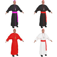 3D catholic cardinal priest model