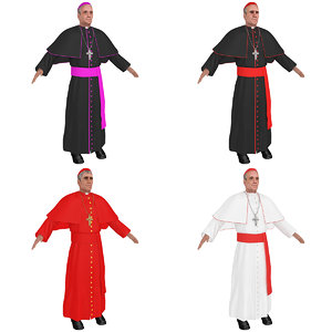 3D catholic cardinal priest model