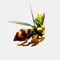 Animated Low Poly Art HoneyBee