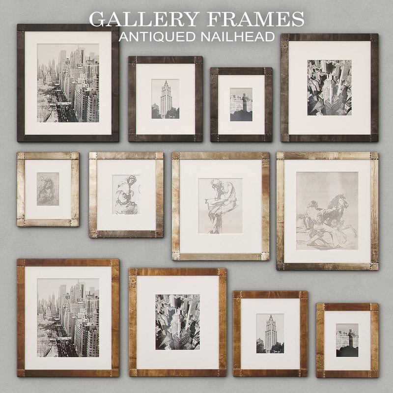 antiqued nailhead gallery frames 3D model